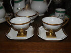 2 SQUARE FEET PEDESTAL POUYAT JP LIMOGES PUNCH TEA CUPS 2 HAVILAND FOLD PLATES