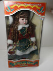 NIB Holiday Lane Collection LTD  FINE PORCELAIN DOLL Long Curly Hair Dolle,