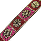 Red Pink Jacquard Ribbon Trim Metallic Floral Style Saris Border Lace 4 Yard