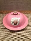 MEITO CHINA HAND PAINTED Covered Platter Plate Floral Pink w/GOLD TRIM Japan Vtg