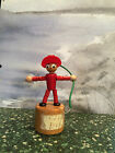 Vintage Wood Finger Puppet Toy Made in Italy Push Base & Man Droops Bright Color