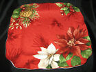 222 FIFTH POINSETTIA HOLLY DINNER PLATES - SET OF 4 - NEW