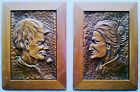 Vintage Pair ALBERT NADEAU Framed Copper Quebec Engravings - Old Man