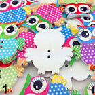 50PCS Mixed Owl Shape Pattern Wooden Buttons Fit Sewing Scrapbook DIY Making