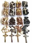 Rosary St BENEDICT wood beads rosary CATHOLIC Rosary Crucifix Necklace lot of 12