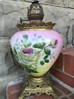 ANTIQUE GONE WITH THE WIND BEAUTIFUL PINK YELLOW ROSES BASE FONT BURNER GWTW