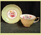 Hammersley Fine China Yellow Tea Cup & Green Saucer ~ Multi-Color Floral Bunch