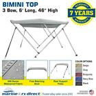 Bimini Top Boat Cover 46 High 3 Bow 6 ft L x 67 72 W W Rear Poles GRAY