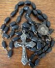 Vintage Italian 59 beads catholic holy rosary medal silver plate cross Crucifix