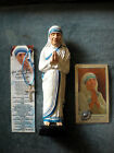 SAINT MOTHER THERESA OF CALCUTTA STATUE  WITH PRAYER CARDS AND MEDALS.