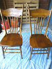 Antique Pair Pressed back plank seat chairs  Refinished , Reglued