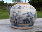 ANTIQUE CHINESE VERY OLD GINGER JAR BLUE & WHITE CANTON !!