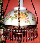 ANTIQUE PARLOR GLASS DOME CHANDELIER SWAG HANGING LAMP