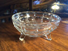 Vintage Round Clear Glass 3 Footed Nut/Candy Dish