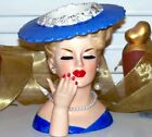 VINTAGE NAPCO LG 6  LADY HEAD VASE TEEN HEADVASE SXY LANA TURNER PARIS BLUE