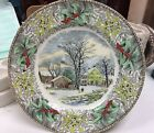 Adams Holly & Mistletoe Winter in the Country Dinnerplate Currier & Ives
