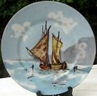 ANTIQUE 27 cm LIMOGES OLD FRANCE HAND PAINTED PLATE PLAQUE BOAT FISHING SHIP SEA