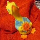 Colorful Vintage Child's Hard Rubber Duck Squeak Toy, 8.5