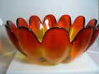 Vintage Ruby Red Yellow Amberina Glass Serving Large Petals Bowl