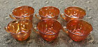 Set of 6 Indiana Marigold Carnival Glass Punch Bowl Cups Flower Pattern
