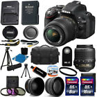 New Nikon D5200 Digital SLR Camera  3 Lens 18 55mm VR NIKKOR Lens + 24GB Bundle
