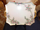 Vintage Bavaria Platter Signed Edna Plack ?? Heavy Gold Trim Floral Decor