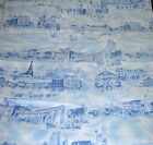 Rows of City Scenes in Blue on White Cotton NY Paris Chicago 1 Yard by 44