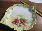 Antique Limoges Gold Embellished Porcelain Fruit Serving Plate Strawberries Art