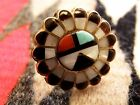 Zuni Size 9 Sterling Multi Stone Inlay Turquoise Onyx Coral Pen Shell Ring