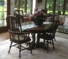 Ethan Allen oak dining room table 2 Leaves 7 chairs buffet hutch Royal Charter
