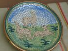 Deruta Italy Mosaic Pottery Wild Cats Decorative Plate 8