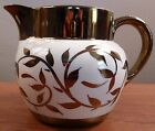 Antique Myott pitcher or jug  copper lusterware leaf designs and trim - FREE SH