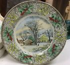 Adams Plate Holly Border Winter in the Country Winter Scenes Currier