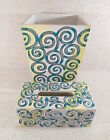 Bela Casa by Ganz Wooden Trash Can / Bin & Kleenex Tissue Box Cover w/ Swirls