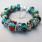 Authentic Pandora Bracelet With Ocean Starfish European Teal Murano Glass Beads