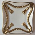 Vintage White Gold Rope/Tassel Italy Cigar Ashtray Square Plate Dish 9