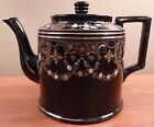 Cleveland English antique teapot with ornate enamel and gold garland designs