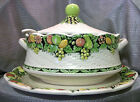Vintage Lefton Soup Tureen With Underplate and Ladle Basket Weave and Fruit