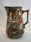 ANTIQUE OLD GLAZED JUG CERAMIC MAJOLICA BF FLAG SOLDIER Opaque de Wasmuel 1900's