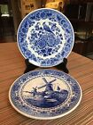 Vintage Delft Blauw Hand Painted Holland Plates Windmill Bird Blue White