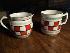 Vintage Antique Checker Board Creamer and Cup made in Czechoslovakia
