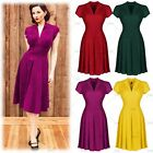 Womens Vintage Retro 50's Cocktail Evening Party Flared Swing Skater VNeck Dress