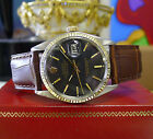 Mens Vintage ROLEX Oyster Perpetual Datejust Steel Gold Black Dial Watch