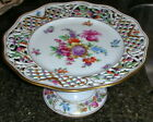 Antique Dresden Schumann Reticulated Pierced Compote Footed Cake Plate Gold Trim