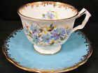 AYNSLEY BLUE CROCUS EMBOSSED FLORAL TRELLIS TEA CUP AND SAUCER