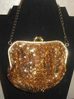 1940's  Vintage Hand Beaded Bronze/ Gold Sequin Purse w chain wrist strap-RARE-