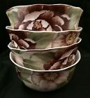 4- 222 Fifth Chloe Cream Rose Floral Soup Cereal Bowls