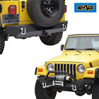 Front Bumper W Winch Plate+Rear Bumper With D rings for 97 06 Jeep Wrangler TJ
