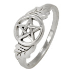 Sterling Silver Oak Tree Leaf Pentacle Ring Wiccan Pagan Pentagram Jewelry