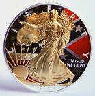 1oz 999 Silver Flag Colorized and Gold Gilded American Eagle Coin max 300psc+CoA